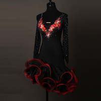 Sexy dress latin dance clothes for women latin dance Embroidery long sleeves dress girls latin dance dress Cha cha dance dress