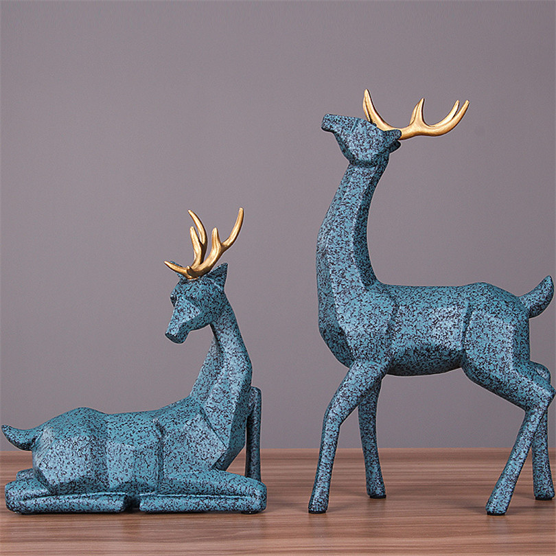 Wedding Gift A Couple Of Deer Statue Home Decor Accessories Geometric Elk Sculpture White Blue Black Deer Figurines Ornaments