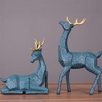 Wedding Gift A Couple of Deer Statue Home Decor Accessories Geometric Elk Sculpture White Blue Black Deer Figurines Ornaments