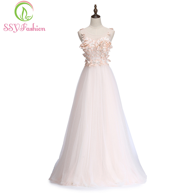 SSYFashion New Sweet Light Pink Butterfly Evening Dress Bride Sleeveless  Floor-length Banquet Formal Party Gowns Robe De Soiree a8982022ce35