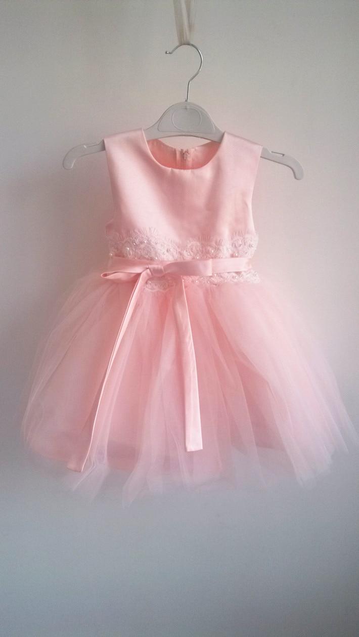 BAB WOW Pink Perfect Flower Girl Dresses Vestidos Infantis for Toddler Girls 1 Year Old Birthday