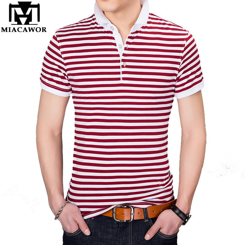 MIACAWOR New   Polo   shirts Men Fashion Striped Camisa Summer Short-sleeve   Polos   Para Hombre Tops Tees T733