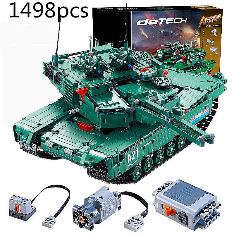 Technic RC Tank Motor Power Function MOC Building Blocks Bricks Military War DIY Technician Toys for boys
