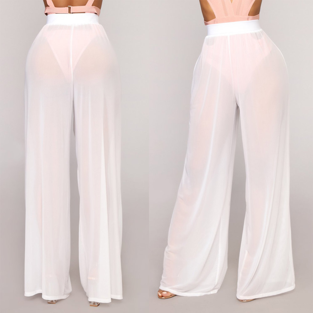 6ec0480e27f46 Womens Beach Mesh Sheer Bikini Cover Up Swimwear Transparent Long Pant  Trousers Perspective Sexy Trousers-in Pants & Capris from Women's Clothing  on ...