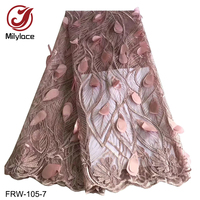 Appliques design french lace fabric 5 yards quality guaranteed gray tulle lace fabric with big sequins dubai lace FRW 105