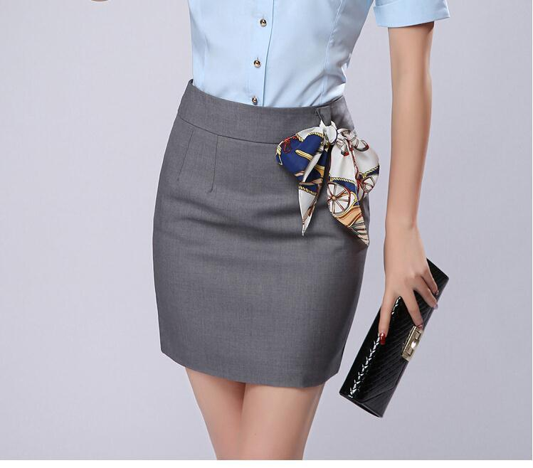 25dce04909 Office Skirt With Free Scarf 2017 Summer Womens New Plus size S 3XL Gray Black  Formal Saias Work Wear Mini Short Pencil Skirts-in Skirts from Women's ...