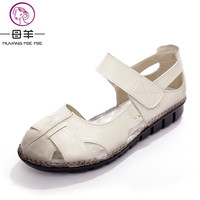 MUYANG MIE MIE Women Sandals Female Genuine Leather Shoes Woman Casual Flat Sandals Fashion Comfortable Summer