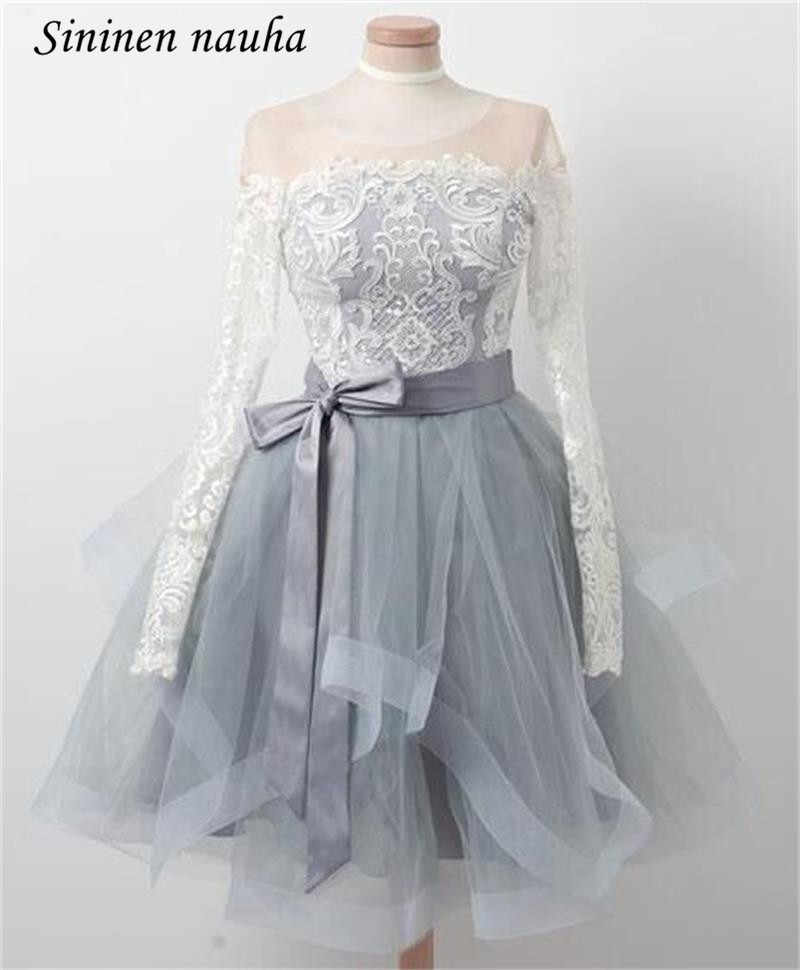 7e924b85dc8e7 White Lace Short Prom Dresses Party Homecoming Dress For Juniors Long  Sleeves A Line Tulle Blush