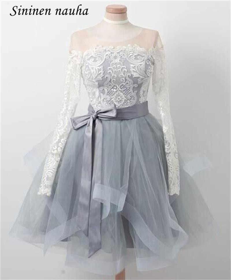 f65235e7dd7 Белое кружево Короткие платья выпускного вечера вечерние платье Homecoming  для юниоров одежда с длинным рукавом Line