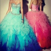 Actual Image Sweet 16 Quinceanera Dresses 2015 Sweetheart Organza Party Prom Debutante Dress Gowns Custom Make Free Shipping