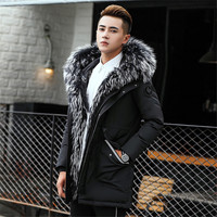 2018 Winter Coats For Men Fahsion Jackets Real Raccoon Fur Hooded Male Outerwear Windproof Couples