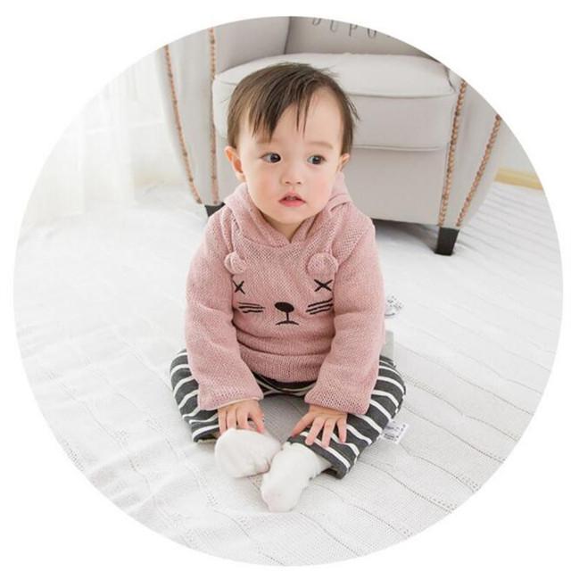 Rápido Ropa Infantil de Alta Calidad 2016 de Corea Del Otoño Invierno de Punto de Lana Caliente Sudadera Infantil Del Bebé Unisex Ropa A069