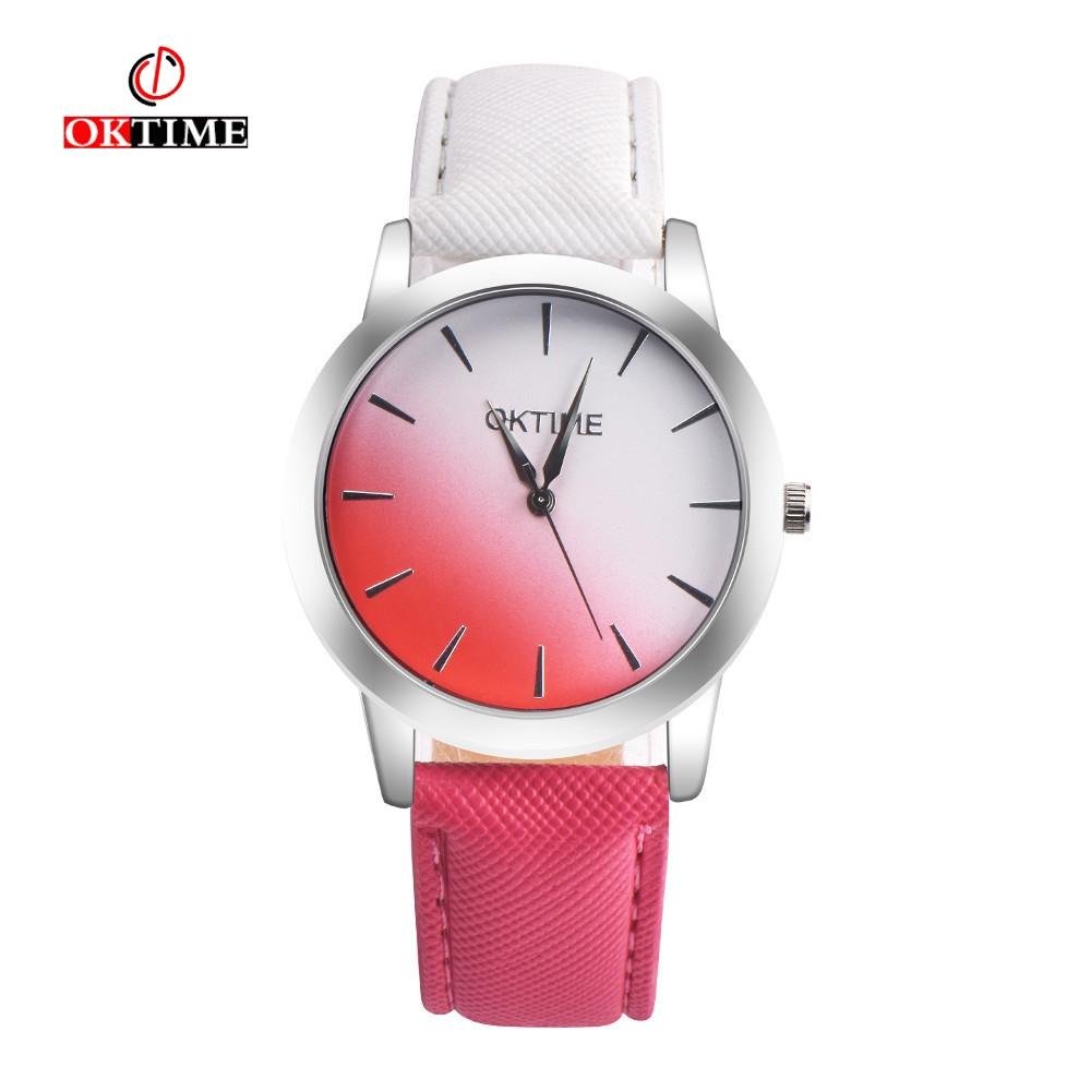 OKTIME 2018 New Women Retro Gradient Rainbow Leather Watch Casual Ladies Quartz Watch Luxury WristWatch Relogio Feminino Hot
