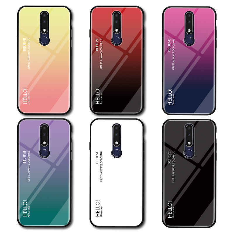 Image 4 - Gradient Tempered Glass Phone Case For Nokia X7 X6 X71 Colorful Case For Nokia 7.1 7 1 4.2 3.1 Plus Cover Coque Protective Capa-in Fitted Cases from Cellphones & Telecommunications
