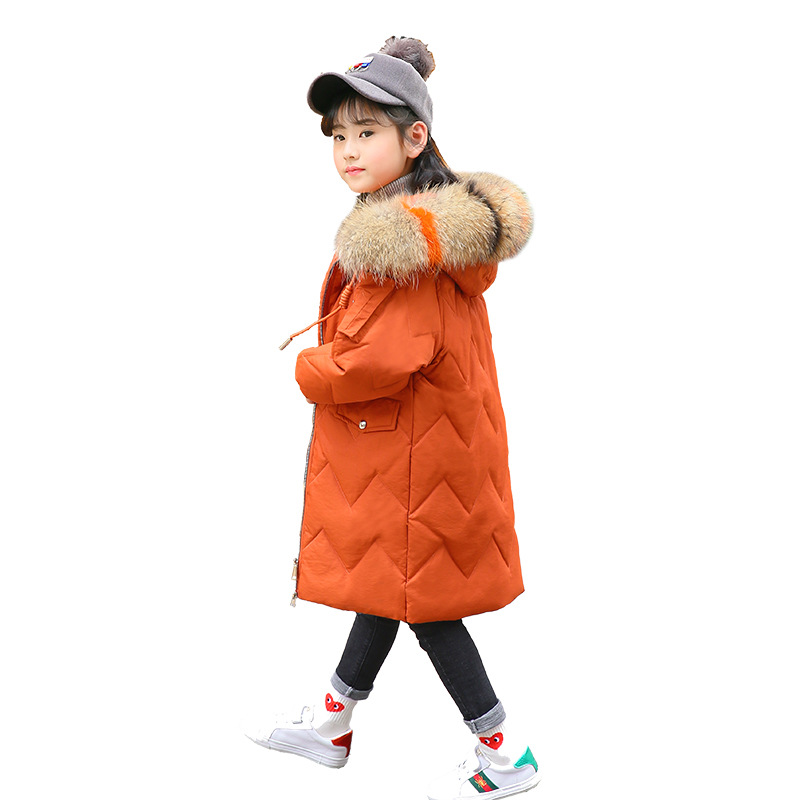 Childrend Girls Winter Coat New 2018 Fashion Fur Hooded Thick Cotton Down Warm Clothes Long Kids Parka Jacket Outwear Size 10 12 new fashion print 2017 winter women down cotton medium long jacket parka female hooded fur collar size m 3xl outerwear coatcq560