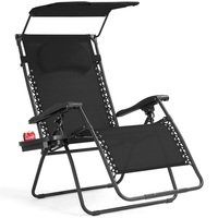 Folding Recliner Lounge Chair W/ Shade Canopy Cup Holder High Quality Steel Tubes Frame Camping Beach Chair Garden Furniture