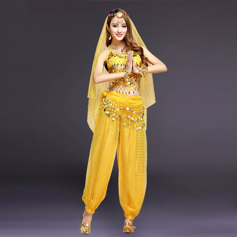 2018 Belly Dance Costumes Women Sexy Clothes Belly Dance Suit Wonder Woman Costume Pants Practice Clothes 4 Pcs 6 Colors DN1201