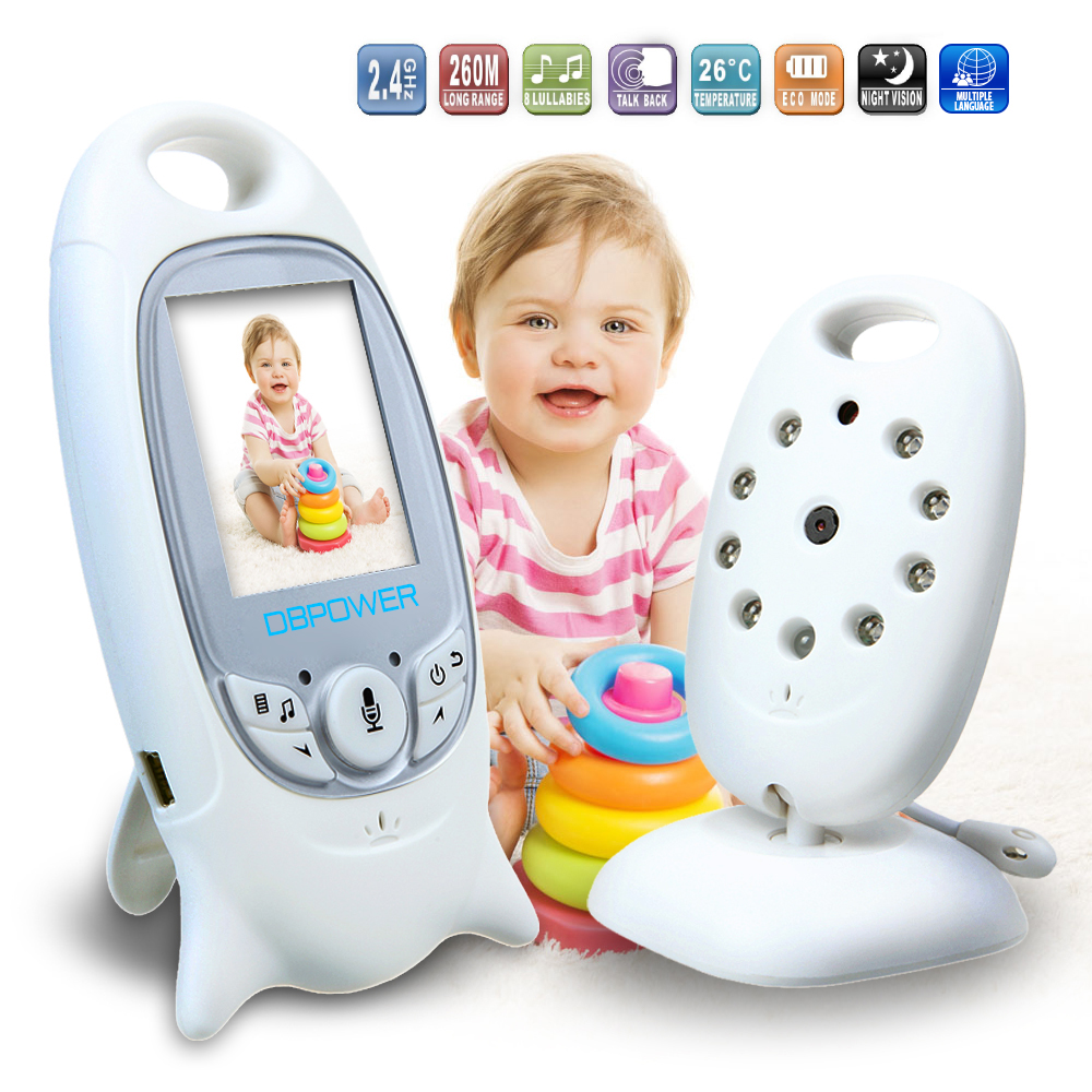 DBPOWER Wireless Baby Monitor 2.0 inch Color LCD Video Child Baby Monitor With Camera NightVision Music Baby Cry Alarm Portable