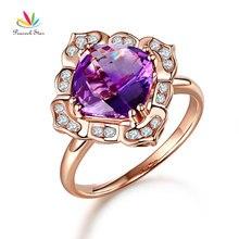 Peacock Star Art Deco Vintage 14K Rose Gold Wedding Anniversary Ring 2.65 Ct Amethyst Diamond