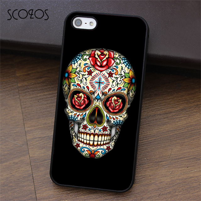 the best attitude 48bf5 01b25 US $4.99 |SCOZOS Sugar Skull With Cross Tattoo phone case for iphone X 4 4s  5 5s Se 5C 6 6s 7 8 6&6s plus 7 plus 8 plus #ea335-in Fitted Cases from ...