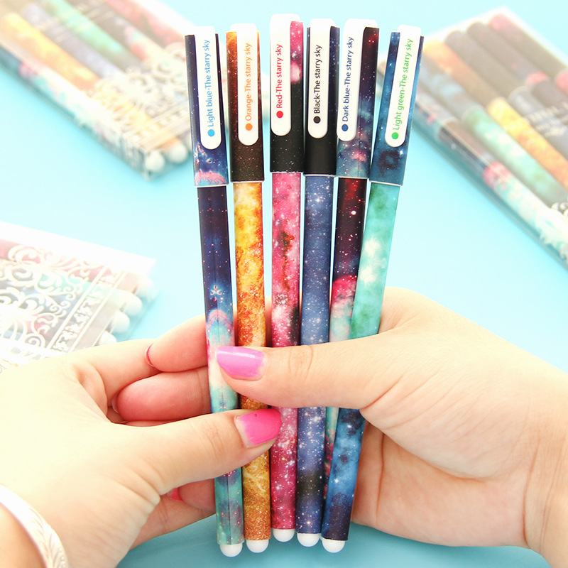 6 Pcs set Color Gel Pen 6 style Starry Pattern Cute Kitty Hero Roller Ball Pens