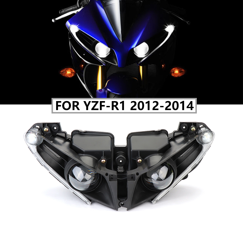 Motorcycle Accessories Front Headlights For Yamaha YZF R1 Headlight Lamp Head Light Housing For Yamaha YZF-R1 2012 2013 2014 R1