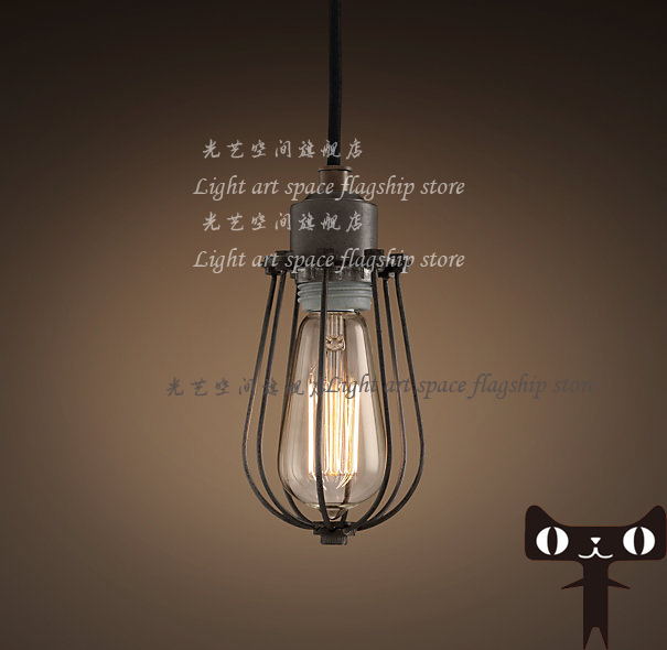 American loft pendant light small iron cages pendant light bulb iron lamps