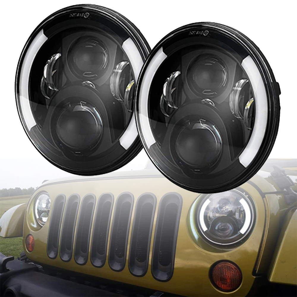 7 inch Round LED Headlight Bulb for Jeep Wrangler JK Hummer H1 H2 Lada 4x4 urban Niva Headlamp Driving Lights with Double Beam
