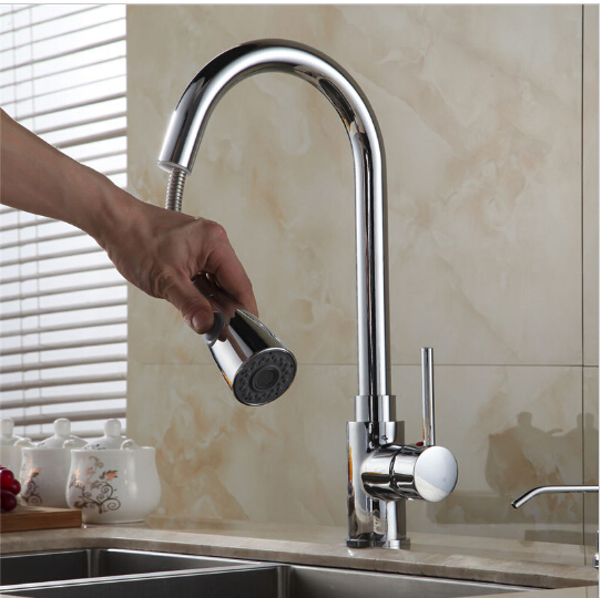 Free Shipping New pull out kitchen faucet chrome silver swivel kitchen sink Mixer tap kitchen faucet vanity faucet cozinha free shipping high quality chrome brass kitchen faucet single handle sink mixer tap pull put sprayer swivel spout faucet