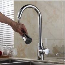 Бесплатная Доставка New pull out кухонный кран хром серебро поворотный раковина смеситель кухонный кран тщеславия кран cozinha