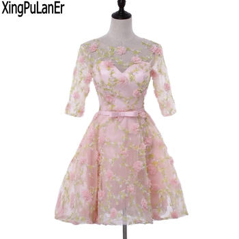 XingPuLanEr Ball Gown O Neck Half Sleeve Flower Appliques Short Above Knee Length Pageant Dresses Prom Dresses Evening Gowns