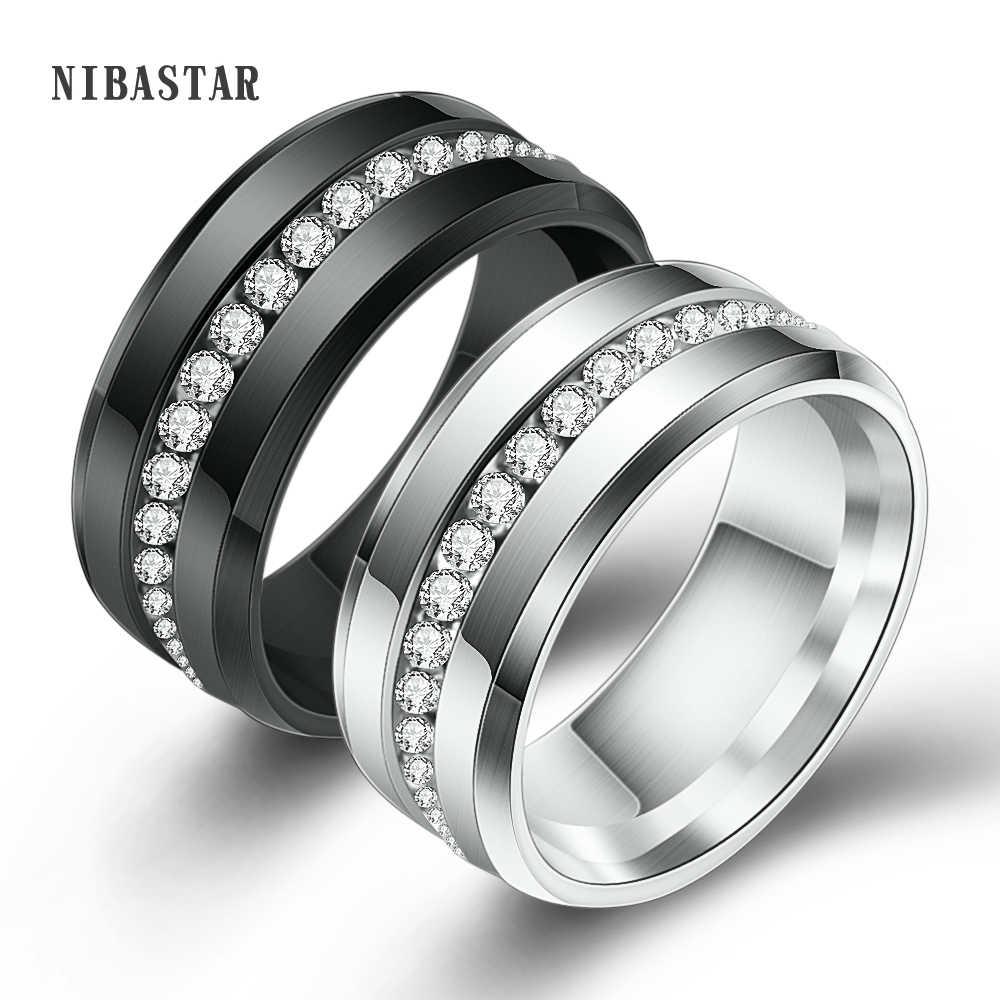 ใหม่มาถึง 316L สแตนเลสสตีลเงินสีดำ 2 สี AAA Cubic Zirconia แหวนผู้ชายงานแต่งงานของขวัญ