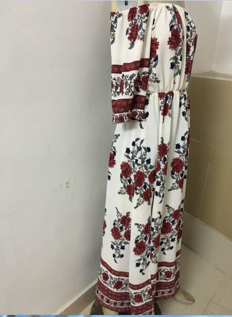 Bohemia Fashion Women Slash Neck Dresses Floral Print Vestidos Spring Summer Beach Sun Slit Loose Lady Dress 2