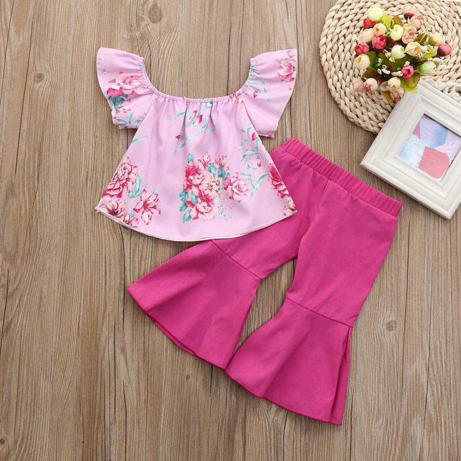 Summer Kids Clothes Set 2018 2Pcs Toddler Baby Kids Girls Floral Off Shoulder Tops T-Shirts + Pants Suits Children Girl Clothes 2017 summer girls sets clothes short sleeve chiffon baby girls sets for kids big girls t shirts and stripe shorts children suits