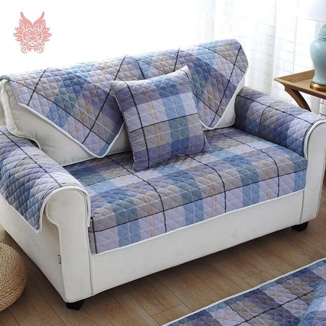 rose bleu plaid 100 pur coton housse de canap quiltting housses anti slip canap - Couvre Canape