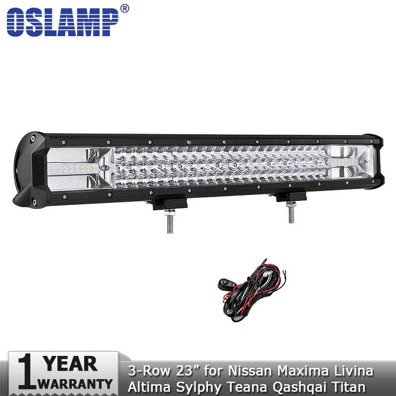 Oslamp 23 pouces 324 w 3-Rangée LED Light Bar Offroad Spot D'inondation Led Light Bar Travail 12 v 24 v pour Nissan Maxima Sylphy Livina Titan Teana