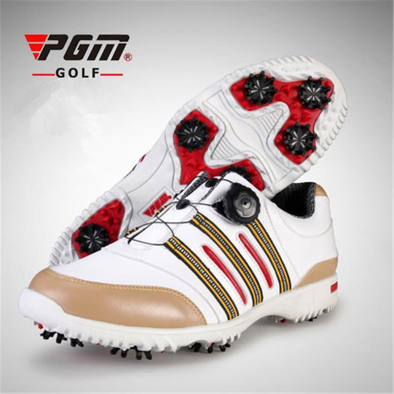 Sapatos de Golfe Não-escorregar ao ar Livre dos Homens Tênis com Cadarço de Rotação Automática do Dispositivo Pgm de Golfe à Prova Nova Patente Água Cor d' 2