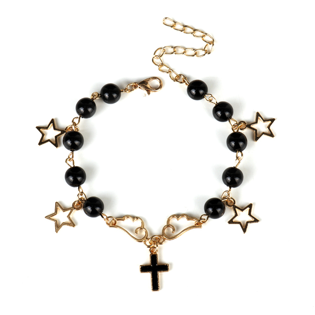 Japanese Girl Charm Bracelet Angel Demon Black Silver Color Bead