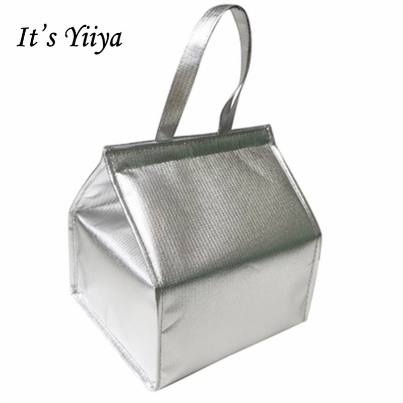 Free Shipping Silver Large Insulated Picnic Cooler Bag For Cakes Cotton Lunch Bag Thermal Bags For Food Handbags Ice Pack BD9010