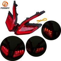 POSSBAY Motorcycle Tail Light Flexible 12V Red LED Taillight Turn Signals Brake Rear Flashing Lamp For Ducati Panigale Cafe Moto