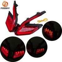 POSSBAY Motorcycle Turn Signal Light 1PCS Flexible 12V Red LED Tail Light Turn Signals Brake Light