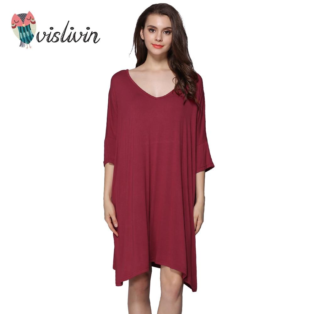 Vislivin Women Plus Size Cotton   Nightgowns     Sleepshirts   Summer Home Dress Sleepwear Loose Comfortable Nightdress Clothing