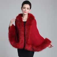 Womens capes knit poncho cashmere Fur Overcoat women Pashmina sweater Fox Fur Shawl Winter Warm Cardigan female fur Coat thick