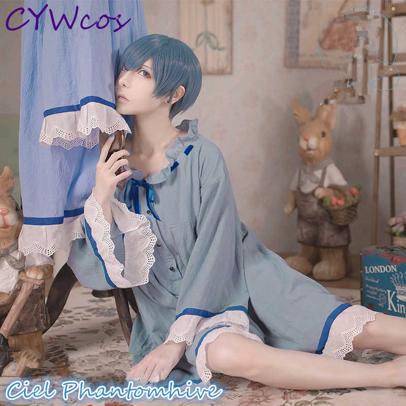Black Butler Ciel Phantomhive Cosplay Costume Nightdress Blue Summer Sleepwear Daily Suits Nightdress+Ring