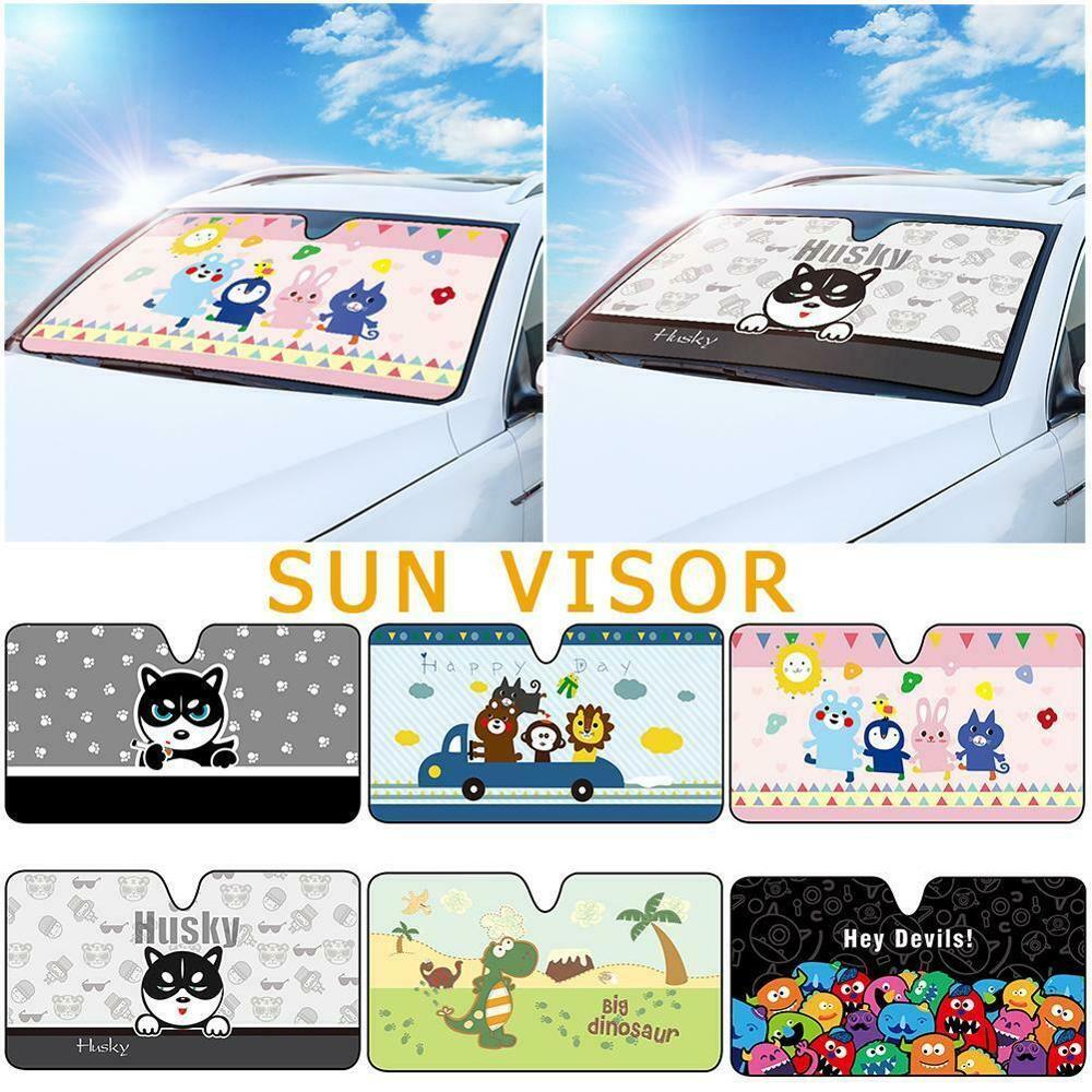 Cartoon Car Windshield Sun Shade Sun Visor Suction Cup Film Cover Front Window Windscreen Summer Visor UV Block Solar Protection