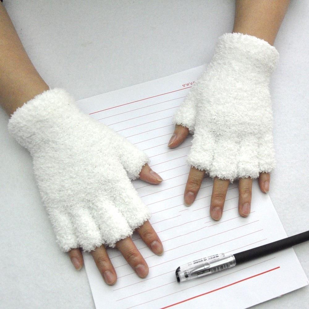 Fuzzy Mink Cashmere Fingerless Winter Gloves Mittens for Women Warm and Versatile Gloves