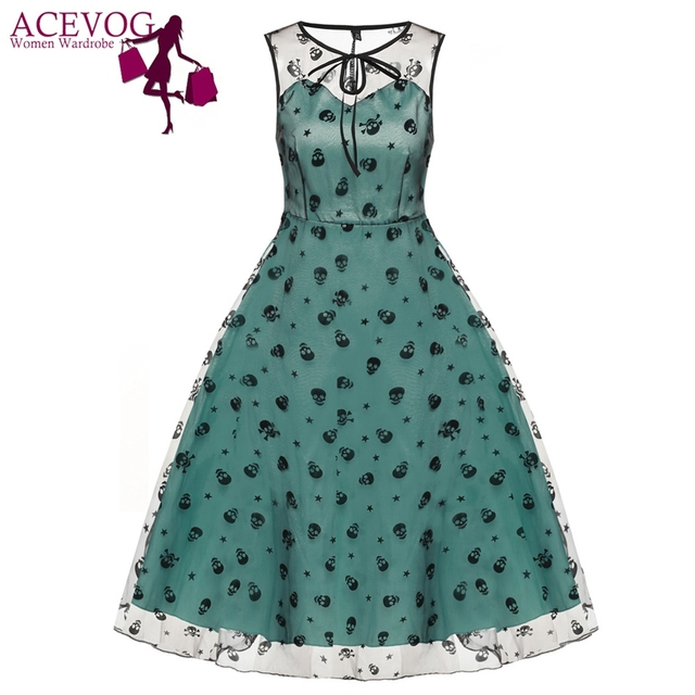 ACEVOG Retro Women Vintage Style Sleeveless Mesh Embroidery Long Cocktail Party Dresses Flower Skull Ball Grown Party Femme Robe 1