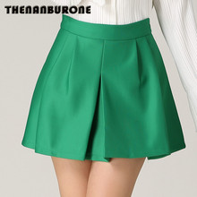 THENANBURONE New Women Sexy Skirts Spring Summer Neon Pink Skater Skirt Casual Green Color Pleated Mini Skirts Femal Plus Size