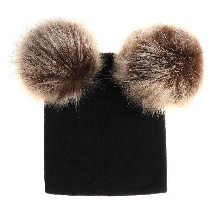 270c2b37d99 ... Baby Beanie With Faux Raccoon Fur Pom Pom Hat Kids Wool Hats Children  Skullies Beanies Cap ...