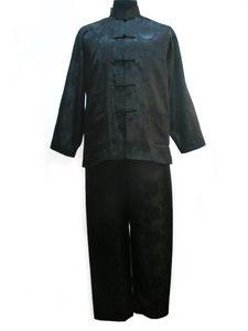 Image 2 - Vintage Navy Blue Chinese Men Satin Pajama Set Pyjamas Suit Long Sleeve Shirt &Pants Trousers Sleepwear Nightwear Plus Size XXXL